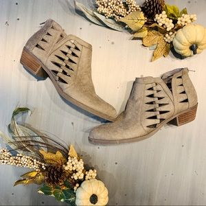 Carlos | Tan Suede Cutout Ankle Booties